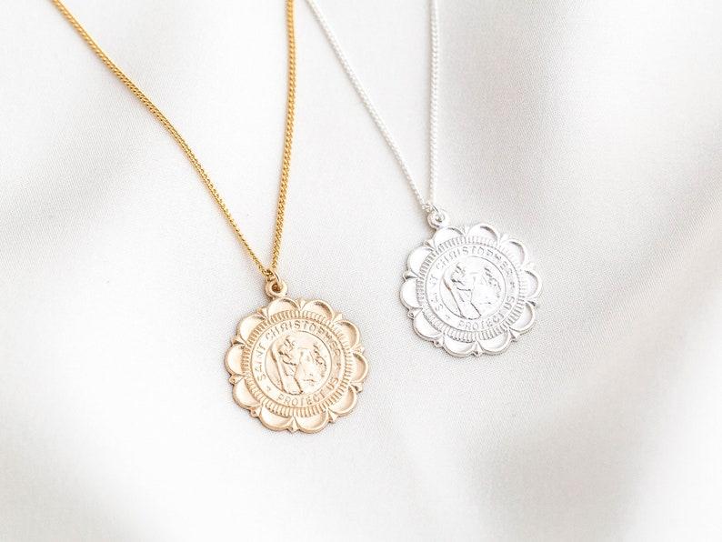 5c6754536 Gold Filled St Christopher Necklace / Traveler's Necklace | Etsy