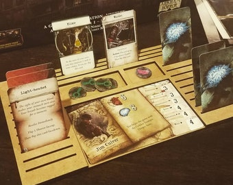 Handmade Lasercut & Engraved Wooden Mansions of Madness Player Dashboards with logo and magnifying glass clue images (1-5 packs)