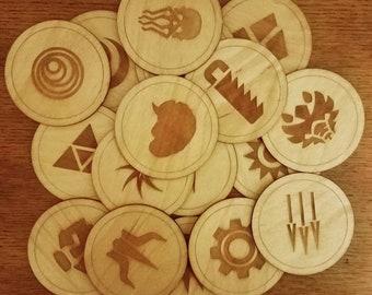 Four (4) Handmade Wooden Gloomhaven Class Coasters