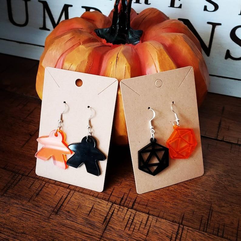 Handmade Halloween Boardgame Earrings meeple and d20 2 pair image 1