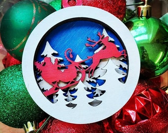 Handmade Santa and Reindeer ornament,  multilayered wooden lasercut and painted