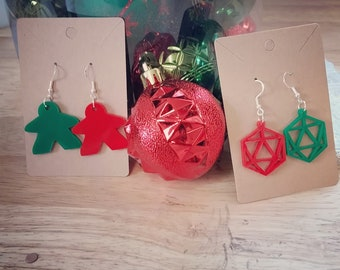 Boardgame Meeple and D20 Dice Themed Christmas Earrings (Red and Green Acrylic)