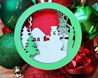 Handmade laser cut and painted multilayered wood snowman Christmas ornament