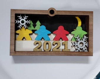 Handmade Wooden Multilayered board game meeple Christmas ornament.