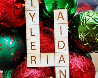 Handmade Fully Customizable Wooden Scrabble Boardgame Ornament (Lasercut and finished)