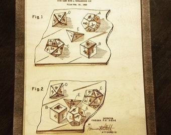 Handmade Wooden Engraved Dice Patent. Great for game room!