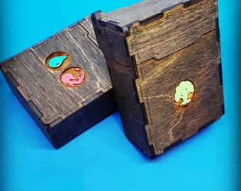 Handmade Wooden Deckbox -- Inspired by Magic the Gathering--hand designed images.
