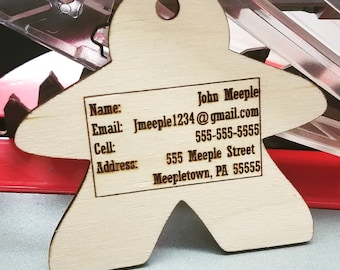 """PERSONALIZABLE Handmade Wooden """"Meeple"""" Luggage Tag"""