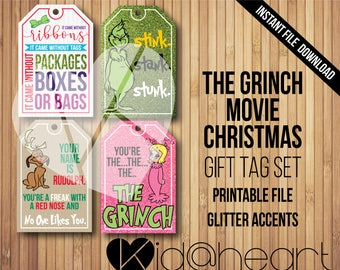 How the Grinch Stole Christmas Movie / Gift Tag Set / Printable File  / Glitter / Funny / Cindy Lou Who / Max/ Wrapping / Jim Carrey / Santa