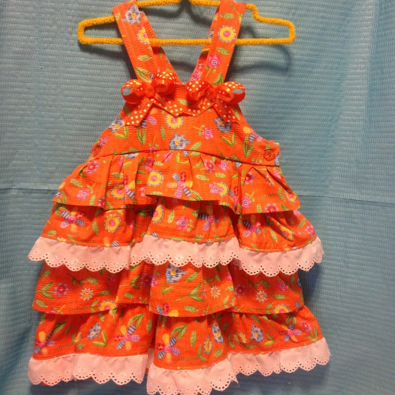 Orange Seersucker Ruffled Flower Dress