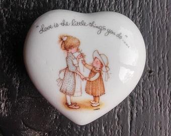 Vintage Holly Hobbie Trinket Box / Holly Hobbie Heart Shaped Trinket Box