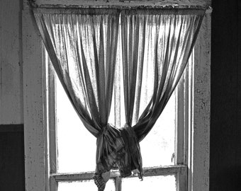Knotted Up Curtains Fine Art Photograph Photography Print Whimsy Curtain Window Black And White Photo