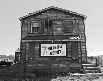 Hillbilly depot building, black and white photograpy, fine art photograph, vintage photo, rustic house, bar