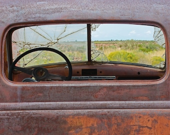 Broken Glass, Fine art photograph, photography print, color photo, antique, windshield, window, old truck, steering wheel