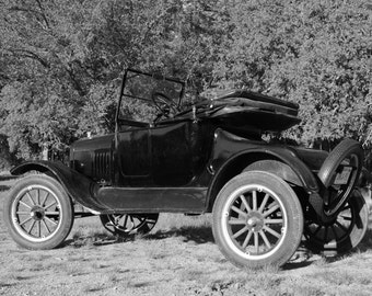 Vintage Model T Car, antique car photo, vintage car photography, black and white photograph, Ford art, Model T, Classic Cars, Historical