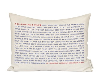 Song Lyric Pillow, Wedding Vows, Personalized Housewarming Gift, 2nd Anniversary, Gift for Her, Gift for Him, Farmhouse decor, Music Lover