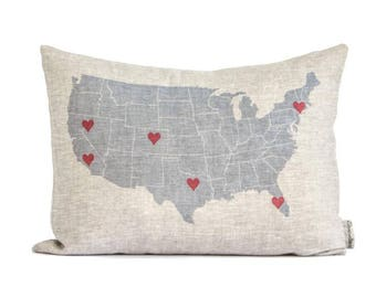 Personalized USA Map Pillow, Customized Linen or Cotton Canvas Pillow, Housewarming Gift, Gift for Parents, Mothers Day, Rustic Home Decor
