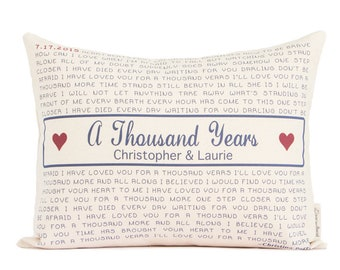 Thousand years etsy personalized song lyric pillow gift for him lyrics pillow 2nd year anniversary stopboris Choice Image