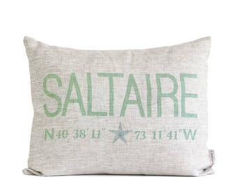 Customized Coordinates Name Pillow, Latitude Longitude, Home Coordinates Pillows, Beach Home Decor, Coastal Decor, With Starfish or Heart