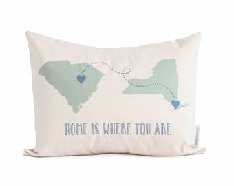 Long Distance Relationship State To State Personalized Pillow, Mothers Day, Long Distance Friendship, Gift for Boyfriend, Gift For Her