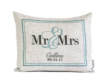 Customized Wedding Gift, Personalized Mr & Mrs Pillow, 4th Anniversary, New Home, Gift for Her, Linen Anniversary