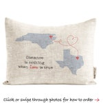 Customized State to State Gift, Long Distance Relationship Pillow, Long Distance Relationship, Gift for Him, Gift for Women