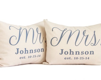 Mr and Mrs Pillows SET, Wedding Gift, 2nd Anniversary, Housewarming Gift, 2 Year Anniversary, Just Married, Bedroom Pillows