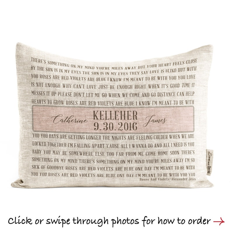 Personalized Linen Song Lyrics Pillow For Her Wedding Vows image 0