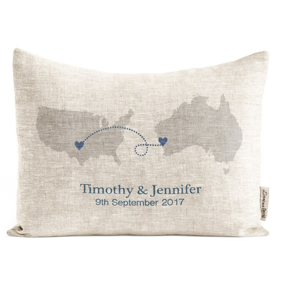 Long Distance Relationship Pillow.Rustic Long Distance Relationship Pillow Countries Or States Linen Anniversary Unique Gift For Men Custom Map Pillow Rustic Decor