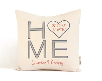 Personalized Home Pillow, Home Coordinates, Housewarming Gift, Realtor Closing Gift, New Home, Just Moved, Anniversary Gift