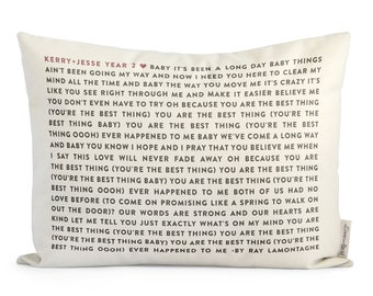 Cotton Song Lyric Pillow, Custom Wedding ow Gift, Personalized Wedding Gift, 1st Anniersary, Gift for Her, Gift for Him, Insert Included