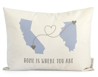 Customized Long Distance Relationship Pillow, Romantic Gift, State To State, Country To Country, Long Distance Friends, Unique Holiday Gift