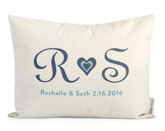 Customized Initials Pillow, Gift for girlfriend, Gift for boyfriend, Anniersary Gift, Cotton Anniersary, Throw Pillow, Housewarming