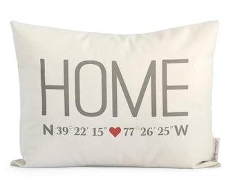 Custom Home Coordinates Pillow, New Home, Realtor Closing Gift, Personalized Housewarming Gift, New Home Gift, Canas or Linen