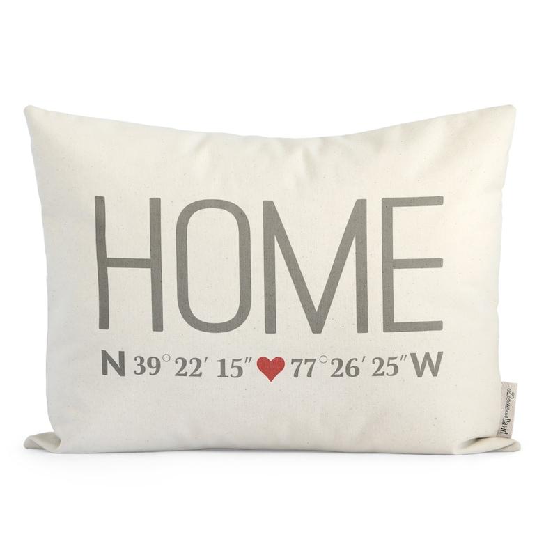 Custom Home Coordinates Pillow Personalized Housewarming image 0