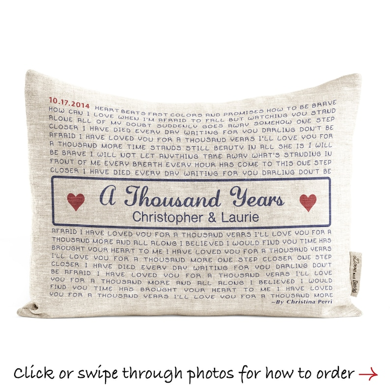 Linen Song lyric Pillow Romantic Throw Pillow Gift For Her image 0