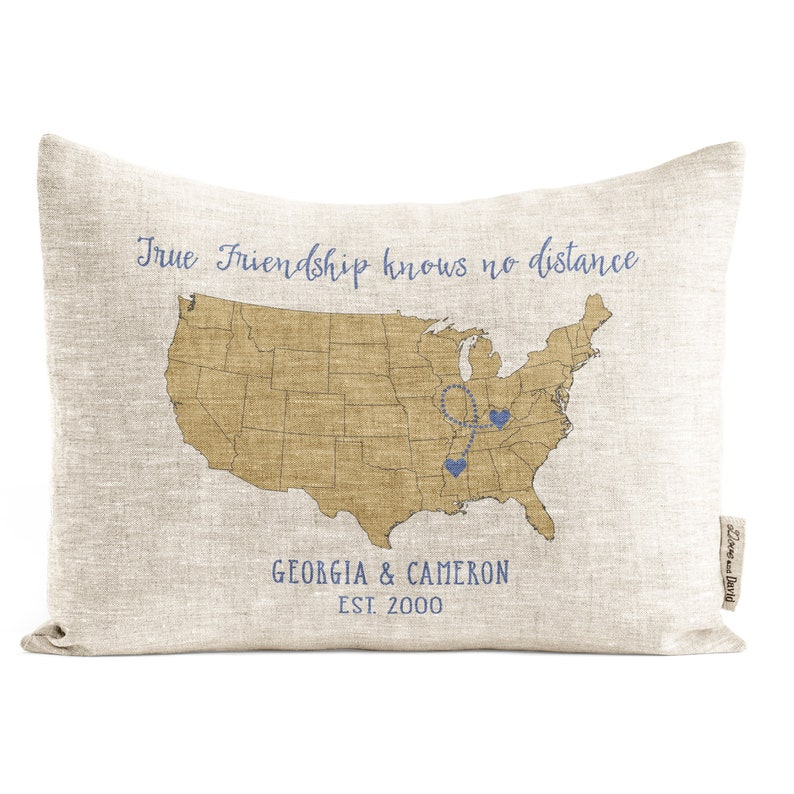 Personalized Map Pillow Gift for Him Gift for Her Friends image 0