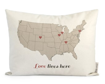Love Lives Here Map pillow, Gift For Mom, Mothers Day, Gift for Parents, Gift For Grandma, Throw Pillows, Gift For Family, Gift For Mother