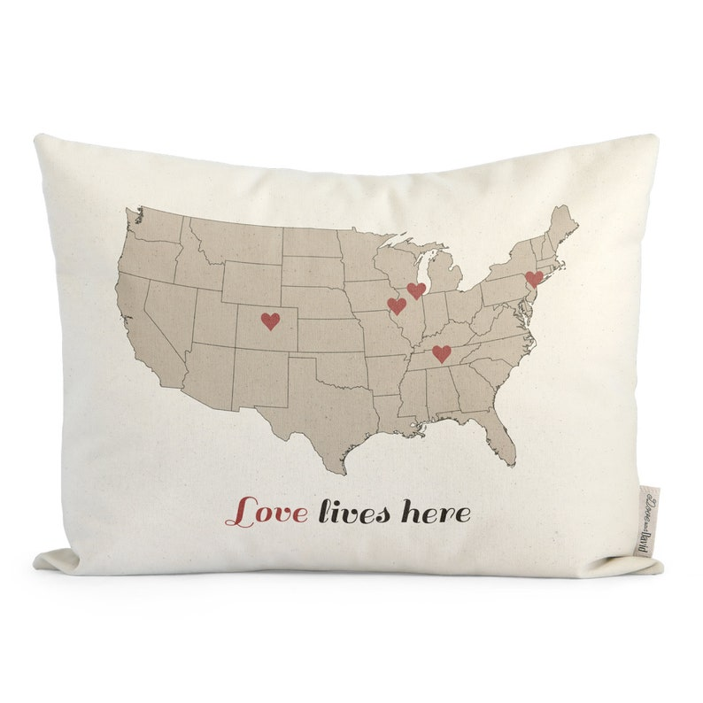 Love Lives Here Map pillow Gift For Mom Gift for Parents image 0