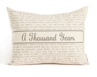 Personalized Song Pillow, Lyric Pillow, Cotton Anniversary, Two Year Anniversary, 2nd Anniversary, Mothers Day, Gift for Him, Gift For Woman