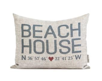 Beach House Coordinates Pillow, Housewarming Gift, Home Away From Home, Coastal Decor, Rustic Home Decor, Beach Decor