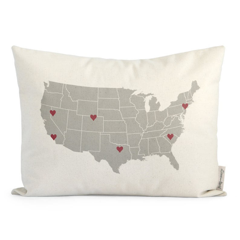 Customized USA Map Pillow Unique Housewarming Gift image 0