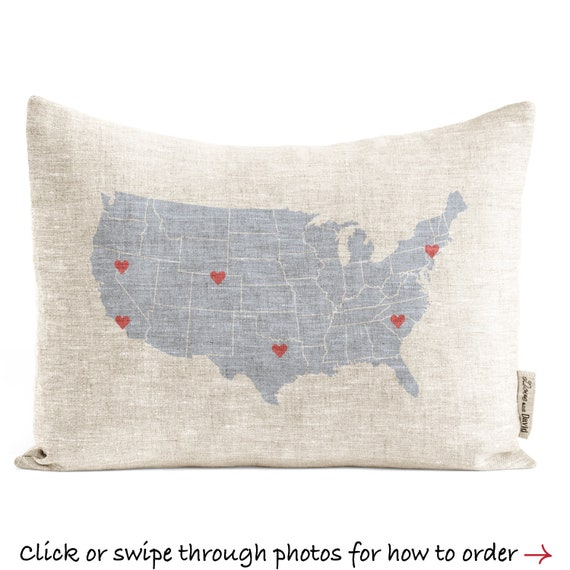 Personalized Usa Map.Personalized Usa Map Pillow Customized Linen Or Cotton Canvas Etsy