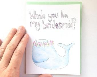 nautical Bridesmaid gift, bridesmaid proposal card, will you be my bridesmaid, bridal party card, bridesmaid note card, wedding pun gift