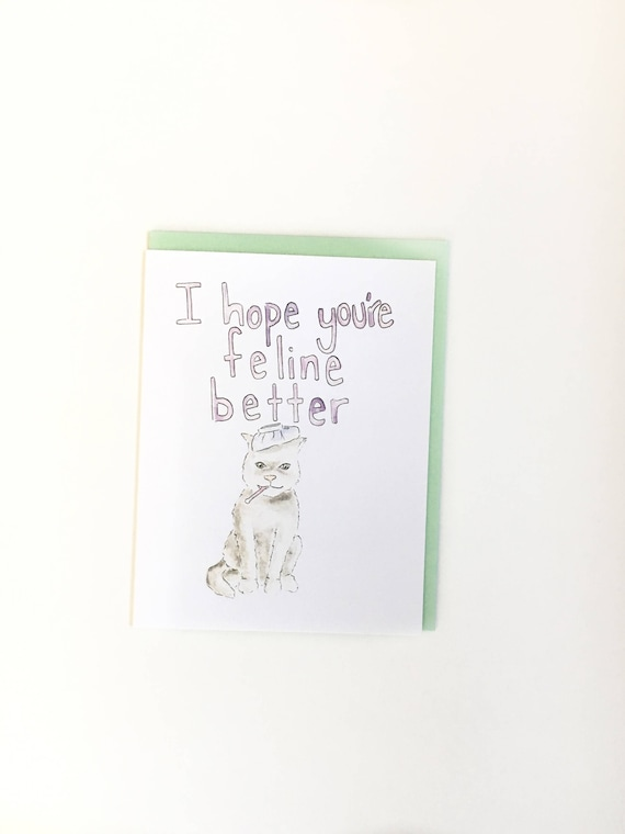 funny get well soon feeling better card cat lady notecard etsy