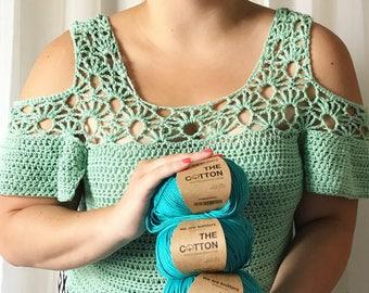 Crochet Pattern- Crochet Crop Top Pattern- Crochet Summer Pattern- Crochet Top Pattern- Crochet Shirt Pattern- Crochet Shoulder Cut Out