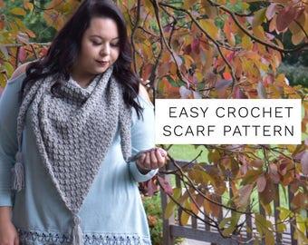 Crochet Scarf Pattern- Triangle Scarf- Crochet Pattern- Fall Crochet Pattern- Crochet- Crochet Wrap- Crochet Scarf- Crochet Shawl