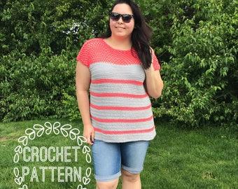 Crochet Pattern-Crochet Top Pattern-Cotton Top-Summer Crochet Pattern- Shirt Pattern-Crochet summer top pattern- stripe shirt