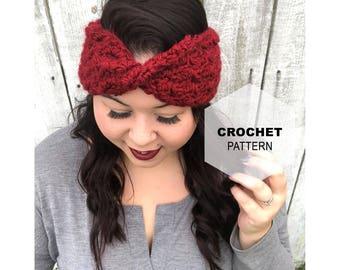 Crochet Headband Pattern- Crochet Pattern- Twisted headband- Crochet turban- Crochet ear warmer