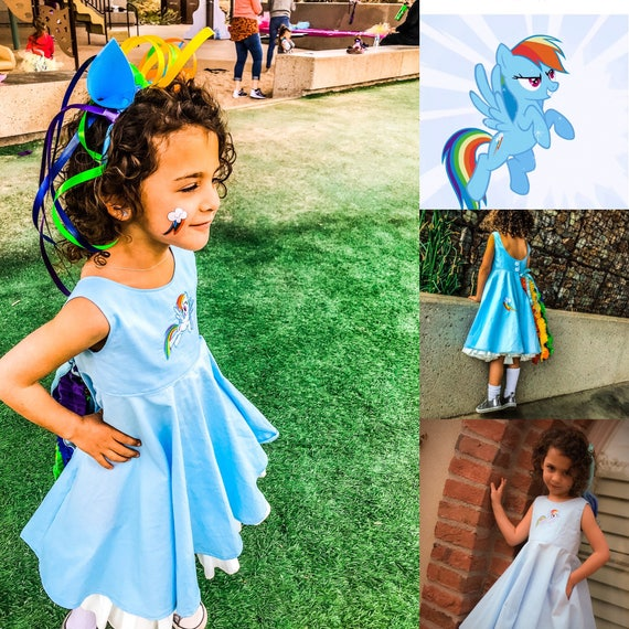 Rainbow Dash Inspired Custom Embroidered Dress
